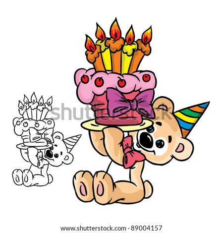 Vector Illustration of bear with a birthday cake in color and outline; isolated on background.