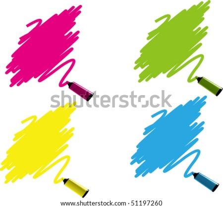 Vector Illustration of colorful marker labels set - stock vector