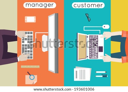 Vector illustration of customer relationship management. Business and development. Communication with client - vector illustration  - stock vector