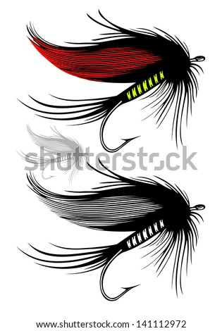 Vector illustration of fishing fly on transparent background - stock vector