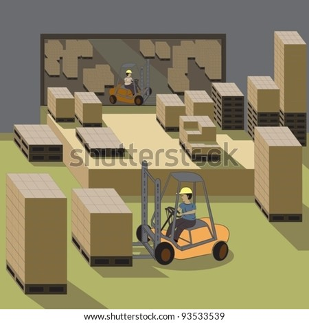Vector illustration of forklift operators, driver, worker in a warehouse operating their fork trucks. - stock vector