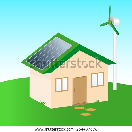 Vector illustration  of Green Residential  house with Alternative energy  devices - stock vector