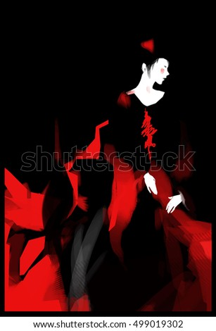 Vector illustration of japanese geisha beauty of asia woman in traditional kimono in