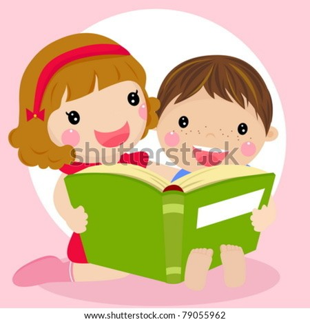 Vector illustration of kids reading a book - stock vector