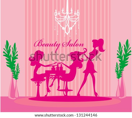 Vector illustration of the beautiful woman in beauty salon - stock vector