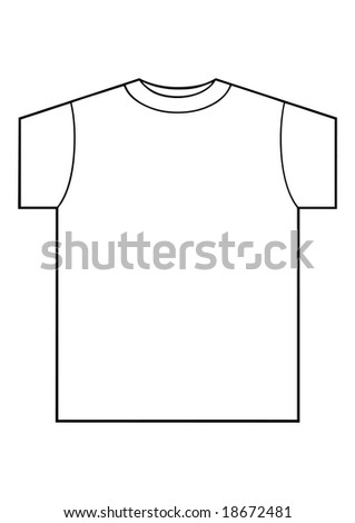 vector illustration of white clean T-shirt on white background - stock vector
