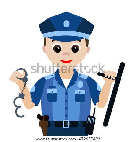 Vector illustration. Profession. Cartoon  policeman with a baton and handcuffs isolated on white background