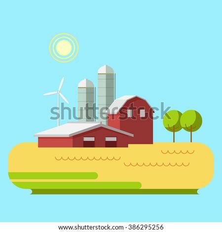 Vector illustration rural landscape. Rural landscape with hill, farm. Rural life. Rural lifestyle. Rural landscape with rural buildings, farm. Sunset and countryside. Sunset and rural landscape. - stock vector