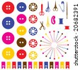 Vector illustration.  Sewing objects silhouettes set. - stock photo