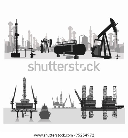 Vector illustration.Silhouettes of an oil refinery and oil wells.Oil platform - stock vector