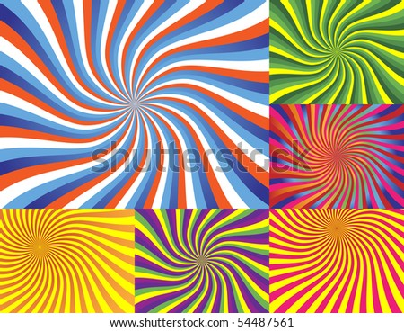 6 Vector Illustrations - Very Colorful Wave Backgrounds - stock vector