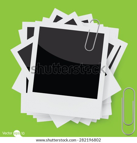 Vector instant photo frame with paperclip - stock vector