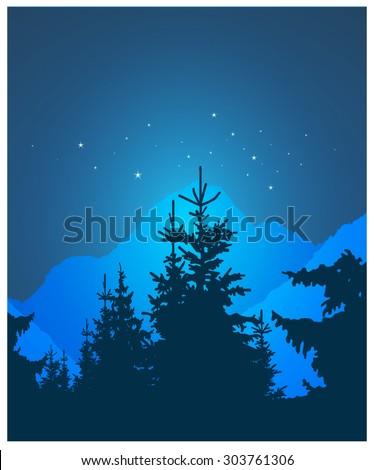 Vector landscape. Silhouette of coniferous trees and snowy rocks on the background of night sky. Eps 10. - stock vector