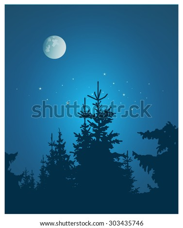 Vector landscape. Silhouette of coniferous trees on the background of night sky and full moon. Eps 10. - stock vector