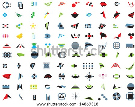 100 vector logos and elements - stock vector