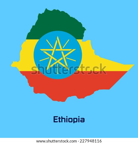 vector map of Ethiopia  with flag texture - stock vector