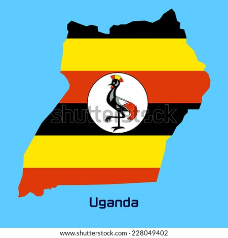 vector map of Uganda with flag texture - stock vector