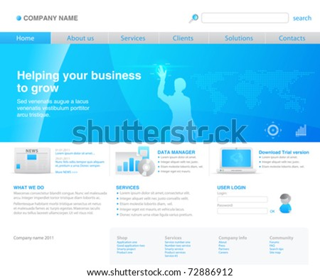 100% vector. 2011 modern website template. Ready to use webpage with girl silhouette, navigation, dotted world map, icons, search bar and other interface elements. Unique icons, unified style. - stock vector