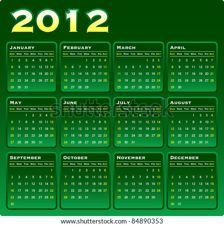 2012 Vector Monthly Calendar on Green Gradation. - stock vector