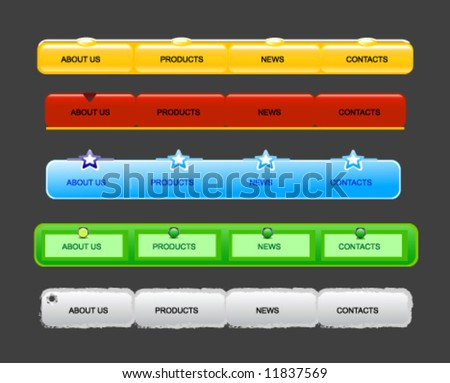 vector of crystal website navigation ,button,templates |02| range,red,green,blue,gery