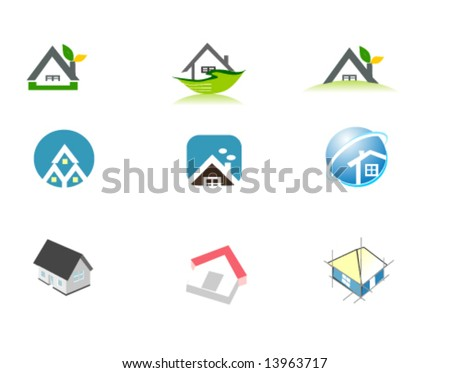 9 vector of house logo ,icon and button for your company of real estate agent and website