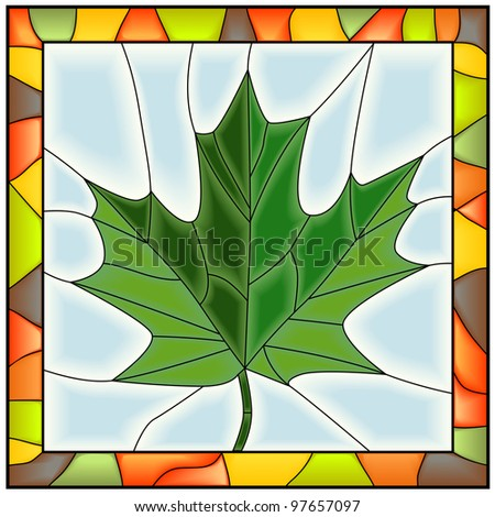 Vector of maple leaf from tree in stained glass window. - stock vector
