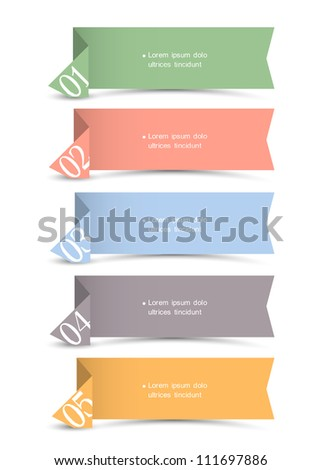 Vector origami paper numbered banners - stock vector