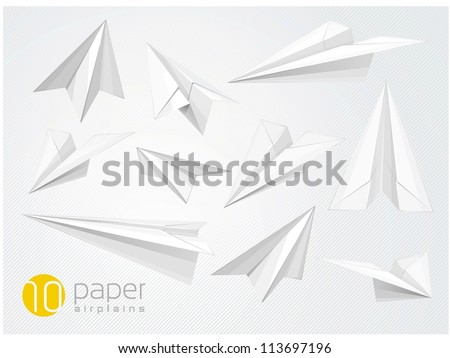 10 vector paper airplains - stock vector