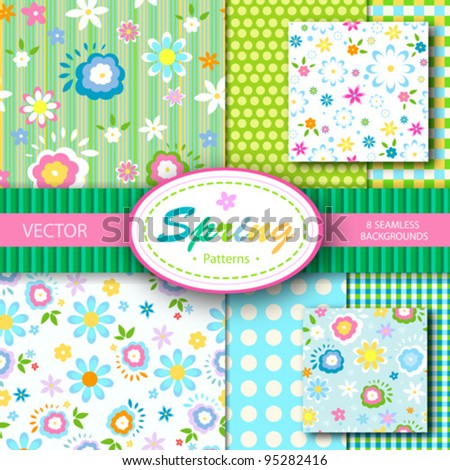 8 vector patterns set; spring  seamless backgrounds - stock vector
