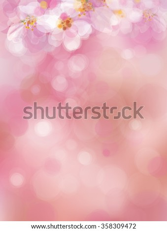 Vector  pink, bokeh background, blossoming sakura tree. - stock vector