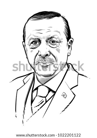 02.11.2018. Vector portrait of Turkish president Recep Tayyip Erdogan. eps.10. Editorial use only.