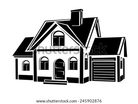 Vector private house - stock vector