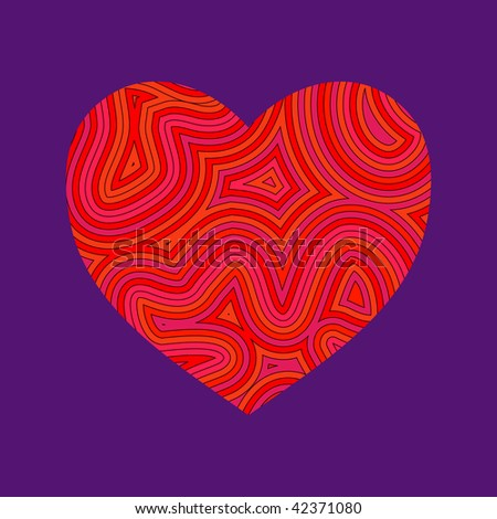 (Vector) Psychedelic heart. Be my Groovy Valentine!!
