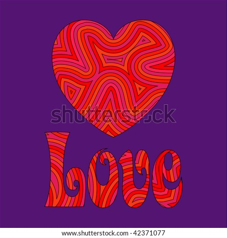 (Vector) Psychedelic love. Be my Groovy Valentine!!