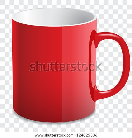 vector red mug - stock vector
