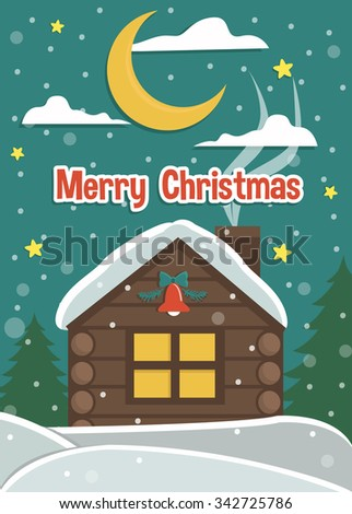 Vector Retro Christmas card. Merry Christmas background and illustration. Cartoon Christmas illustration. - stock vector