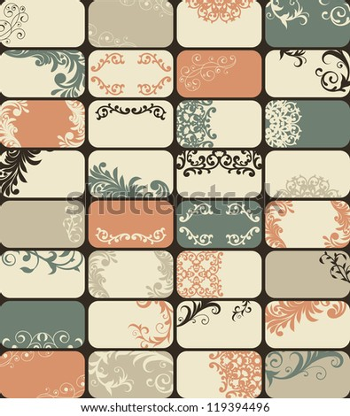 32 vector retro style business cards with unique floral patterns - stock vector