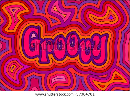 (Vector) 60's groovy retro psychedelic design. A jpg version is also available - stock vector