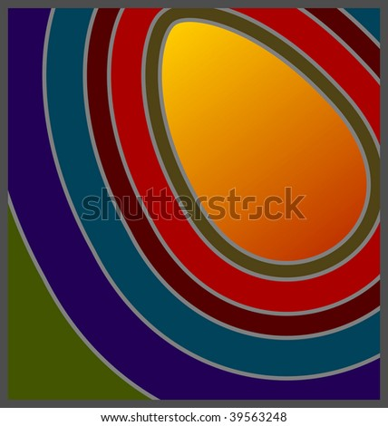(Vector) 60's/70's Retro concentric colors with egg shaped copy space. A Jpg version is also available. - stock vector
