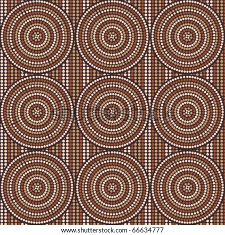 Vector seamless background aboriginal style (abstract symbolic design) - stock vector