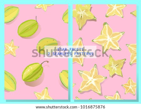 2 Vector seamless pattern of star fruit / carambola fruit, whole and slice. on bright pink background