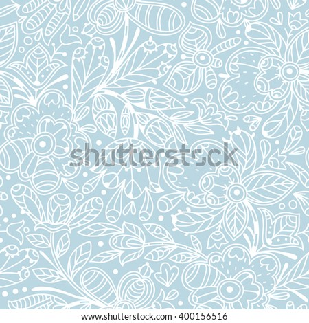 vector seamless pattern with abstract linear floral doodles - stock vector