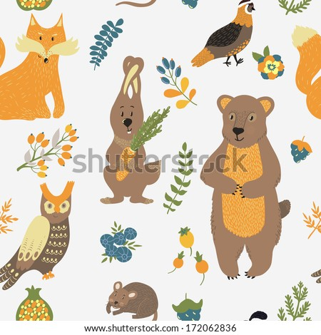 Vector seamless pattern with floral elements and forest animals: bear, fox, rabbit, owl, quail, vole on the white background - stock vector