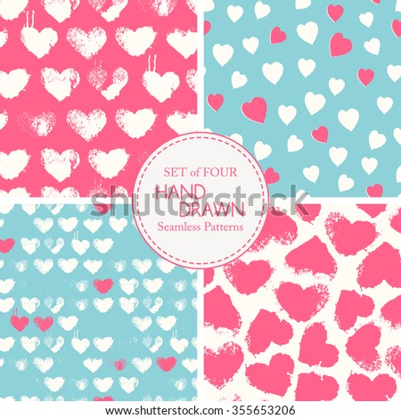 Vector seamless pattern with grunge colorful hearts. Saturated and happy color palette. Romantic texture for consumer industry design, interior decoration, valentine's day etc - stock vector