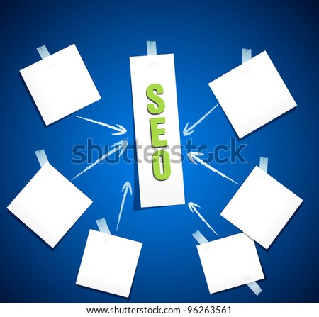 vector search engine optimization ( SEO concept)  in word tag cloud on blue background - stock vector