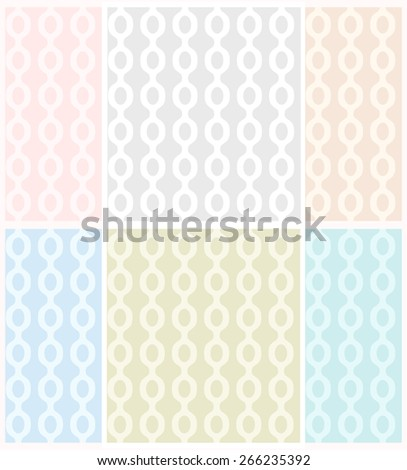 Vector set of abstract seamless patterns with chains in pastel tones. Eps 10. - stock vector