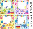 Vector set of birthday cards with funny monkeys - stock vector