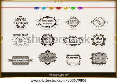 Vector set of calligraphic and floral design elements with decoration and baroque frames and rose ornaments. Old paper texture with grunge frames. Vector illustration.    - stock vector