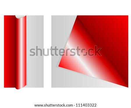 vector Set of four color curled corners of pages