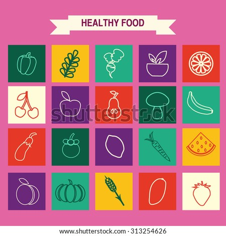 Vector  set of Healthy Food icons in trendy linear style mono line , Eco Food icons set Vegetables and fruits